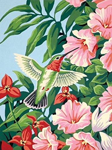 iFymei Paint By Number Kits Paintworks DIY Oil Painting for Kids and Adults (Bird and pink flower)