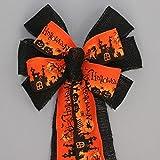 "Spooky Halloween Scene Burlap Bow - 9"" wide"