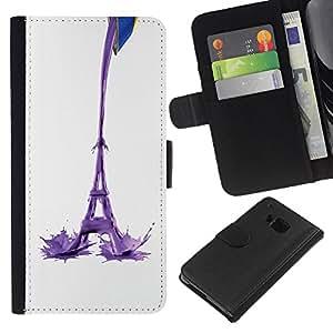 KLONGSHOP // Tirón de la caja Cartera de cuero con ranuras para tarjetas - Torre Eiffel Leche Resumen - HTC One M7 //