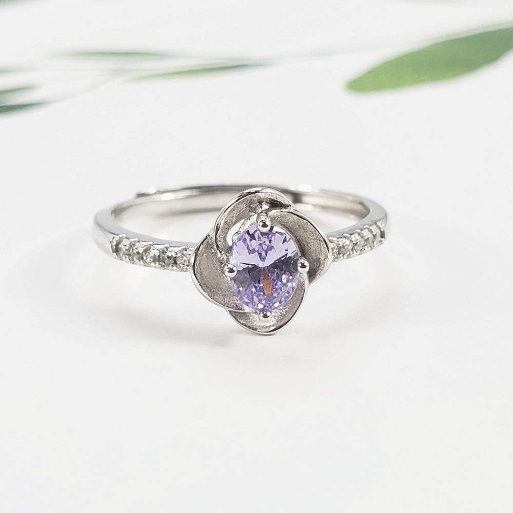 Zago Anillo Anillo de Piedras Preciosas con Flor de Plata esterlina para Mujer Anillo de Diamantes de imitación de la Vendimia Joyería de Las señoras