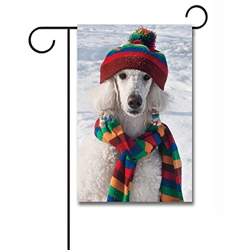 Banedy Winter White Poodle Sitting in Snow Wearing Stripe Scarf and Hat Garden Flag 12.5