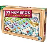 Brinquedo Pedagógico Madeira os Números Domino e Memoria Pais E Filhos