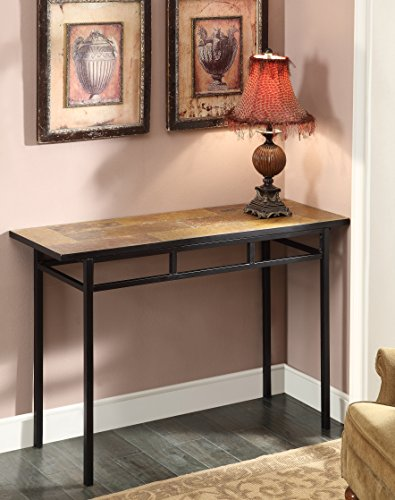 4D Concepts Sofa Table with Slate Top, Metal/Slate