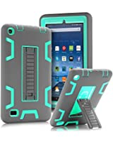 """TOPSKY Fire 7"""" (2015 release) Case,[Kickstand Feature],Shock-Absorption / High Impact Resistant Heavy Duty Armor Defender Case For Amazon Fire 7 Inch Tablet,with Stylus, Grey/Green"""