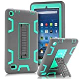 TOPSKY Fire 7' (2015 release) Case,[Kickstand Feature],Shock-Absorption / High Impact Resistant Heavy Duty Armor Defender Case For Amazon Fire 7 Inch Tablet,with Stylus, Grey/Green