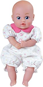 Adora Baby Tots White Hearts Pjs 8.5 Girl Weighted Cuddly Washable Soft Snuggle Play Doll Baby Powder Scented Toy Gift for Children 1+ (2171003)