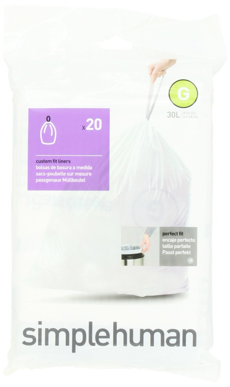 simplehuman Code G Custom Fit Trash Can Liner, 1 refill pack (20 liners), 30 Liters / 8 Gallons by USA
