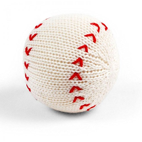 - Estella Hand Knit Soft Organic Cotton Baby Rattle Toy, Baseball