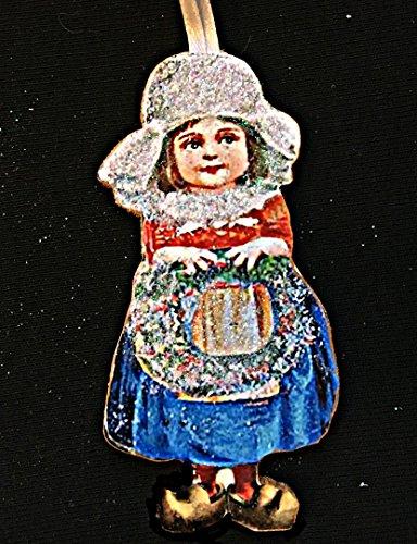 (Dutch Girl, Handcrafted Wood, Christmas Ornament, Ellen Clapsaddle, Antique Postcard, White Cap. Lace Apron, Wooden Shoes, Christmas Wreath)