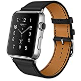 iBazal Apple Watch Band, 42mm [Business Series] Apple Watch Leather Band Cow Leather Replacement Band for 42mm Apple Watch Series 3/Series 2/Series 1/Sport/Edition (Black 42mm)