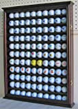 110 Golf Ball Display Case Wall Cabinet Holder, Solid Wood (Cherry Finish)