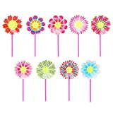 Loair 10Pcs Sunflower Windmill Kid Toys - Yard Garden Ornaments Colorful Outdoor Spinner