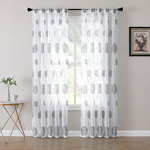 Tollpiz Floral Sheer Curtain Grey Nest Embroidery Living Room Curtains Rod Pocket Voile Linen Textured Window Curtain for Bedroom, 54 x 95 inches Long, Set of 2 Panels