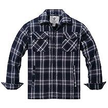 WenVen Mens Flannel Plaid Shirt Zip Up Fleece Sherpa Lined Jacket