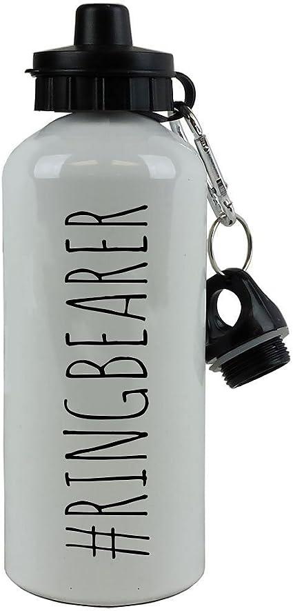 Black CustomGiftsNow Ring Security Ring Bearer 20-Ounce 600ML White Aluminum Water Bottle 1