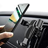 Car Phone Mount, Ainope Gravity Cell Phone Holder for car Auto-Clamping Air Vent Car Phone Holder Universal Car Cradle Mount Compatible iPhone Xs MAX/X/8/7, Galaxy Note 9/S9 Plus/S8/S7- Black (Divi)
