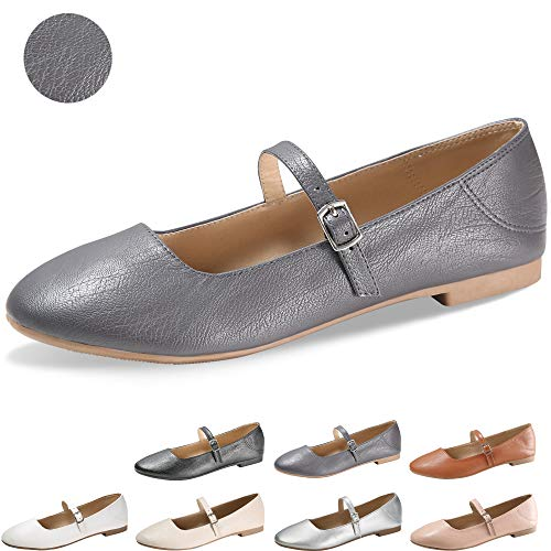 CINAK Flats Mary Jane Shoes Women's Casual Comfortable Walking Buckle Ankle Strap Slip On(9-9.5 B(M) US/ CN41 / 10'', Grey)