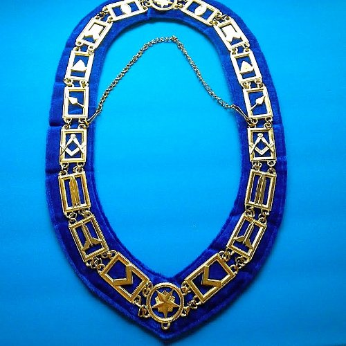 The Lux Master Mason Chain Collar Luxury Royal Blue Chenille Backing Golden (Chenille Finish)