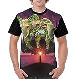 CKS DA WUQ Russo Elephant Men's Raglan Short Sleeve Tops T-Shirt Popular Undershirts Baseball Tees