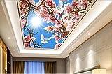 Lwcx Custom Ceiling 3D Wallpaper Sky Peach Butterfly In The Living Room Ceiling Luxury Wallpaper F 350X245CM