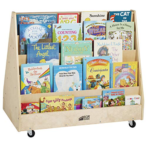 - ECR4Kids ELR-0335 Birch Hardwood Double-Sided Book Display Stand for Kids, 10 Shelves, Natural