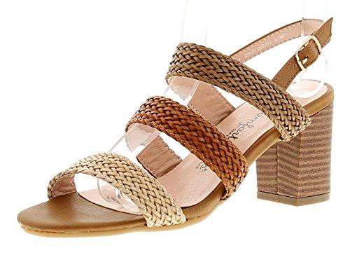 Comfort Plus Kim Womens Ladies Heeled Sandals Tan - Tan - UK Sizes 3-8 5O1mRN