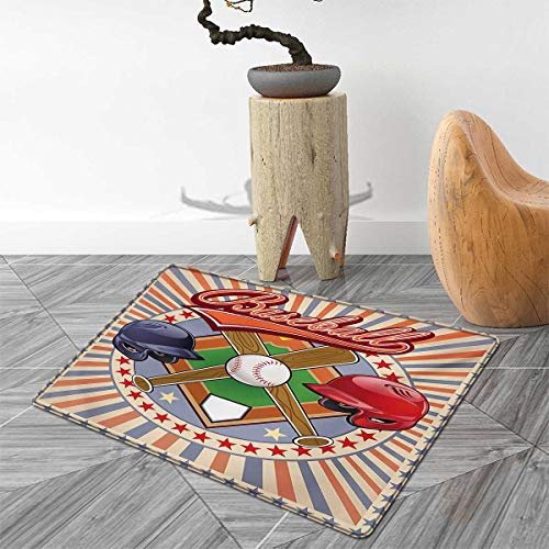 3' Logo Cube - Baseball Door Mats Area Rug Retro Pop Art Baseball Logo with Vertical Striped Setting Bat and Ball Game Print Floor mat Bath Mat for tub 3'x5' Multicolor