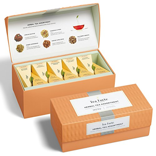 Tea Forté HERBAL TEA ASSORTMENT Presentation Box Tea Sampler, Assorted Variety Tea Box, 20 Handcrafted Pyramid Tea Infuser Bags