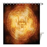Liguo88 Custom Waterproof Bathroom Shower Curtain Polyester Horror House Decor Demon Trap Symbol Logo Ceremony Creepy Ritual Fantasy Paranormal Design Orange Decorative bathroom