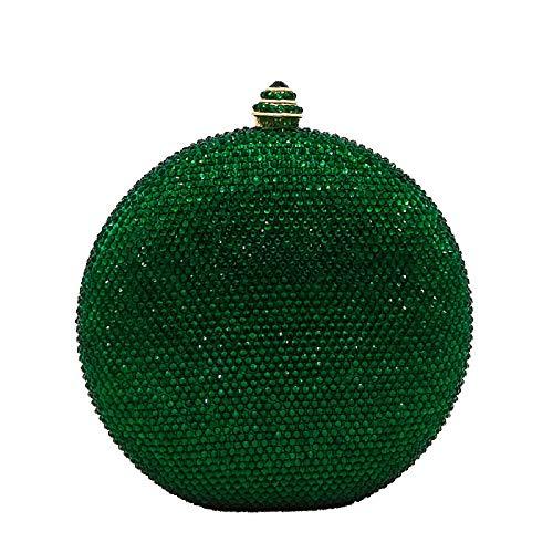 Green Round Circular Crystal Clutch Evening Bag ()