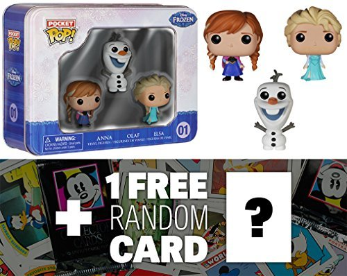 Elsa, Anna, Olaf Tin Boxset: Pocket POP! x Disney Frozen Mini-Figure & 1 Official Classic Disney Trading Card Bundle (47979)