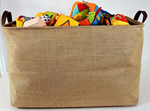 OrganizerLogic Burlap Storage Organizer Basket - Heavy Duty Storage Basket - Perfect Storage Jute Basket for Laundry, Shoes and Kids Toys - 22'' x 15'' x 14'' by OrganizerLogic (Image #3)