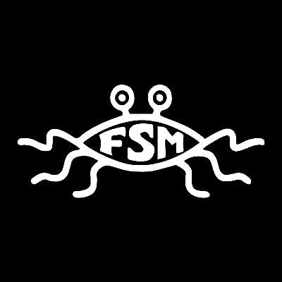 "EvolveFISH FSM Flying Spaghetti Monster Weatherproof Vinyl Decal - [White][5""]: Automotive"