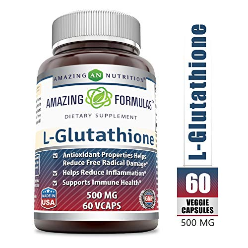 Amazing Formulas Reduced L-Glutathione - 500 Mg, 60 Veggie Capsules - Antioxidant Properties Helps Reduce Free Radical Damage - Helps Reduce Inflammation - Supports Immune Health. - Glutathione 500 Mg 60 Capsules