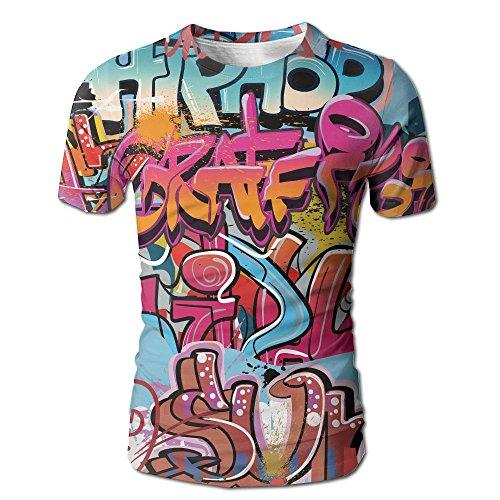 JeanCo Men's Hip Hop Street Culture Harlem New York Graffiti Spray Artwork Image Multicol Vintage T-shirts White - City Party White Suspenders
