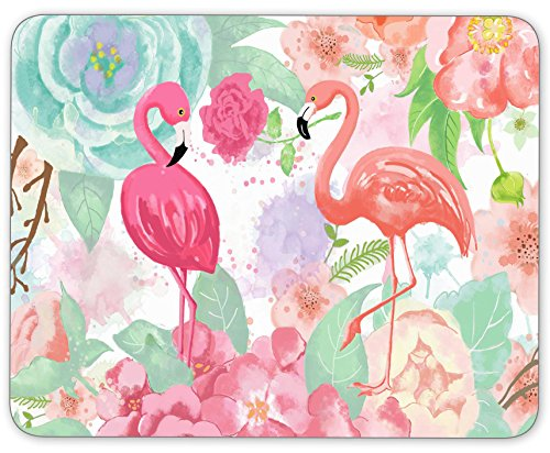TuMeimei Non-Slip Rubber Mouse Pad, Bright colors watercolor flamingo and flowers mouse pad (9.5 inch x 7.9 inch)