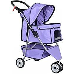 3 Wheels Pet Stroller Dog Travel Folding Carrier Purple Easy Fold