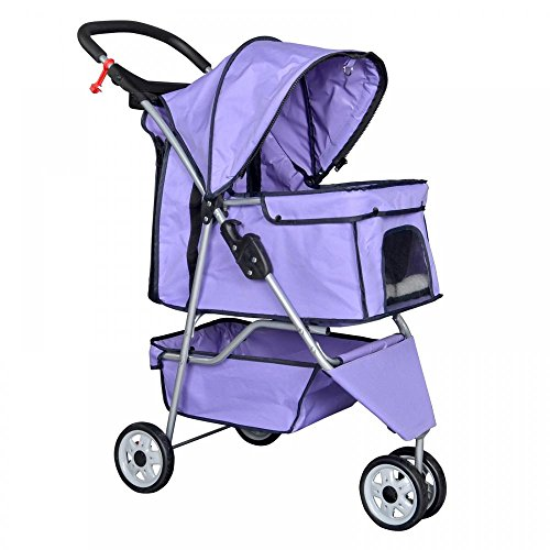 Purple-Pet-Stroller-Cat-Dog-Cage-3-Wheels-Stroller-Travel-Folding-Carrier-T13