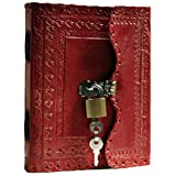 Prastara GENUINE Leather Cover Lock Diary 200 Pages, 5 x 7 Inches (Red) …