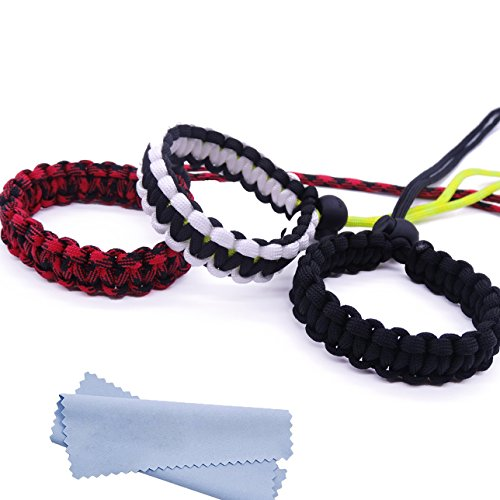 Maveek Camera Wrist Strap 3 Pack 3 Color Braided 550 Paracord Lanyard Parachute Cord Adjustable Wristband Bracelet Hand Grip Strap for Video Camcorder, Binoculars and Digital Camera - Black White Red