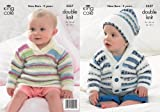 King Cole Baby Double Knitting DK Pattern Striped Sweater Jacket & Matching Hat 3557