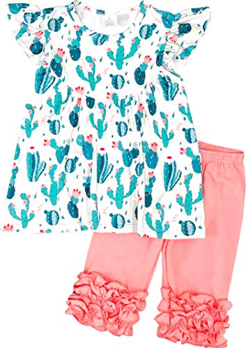 Boutique Toddler Girls Spring Summer Time Cactus Succulent Capri Playwear Set Green/Coral 2T/S