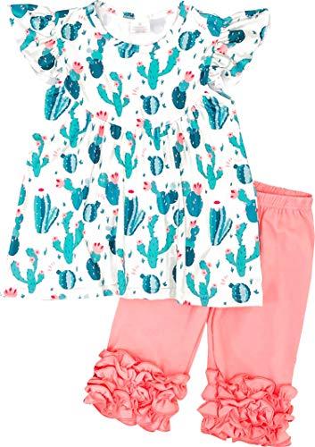 - Boutique Little Girls Spring Summer Time Cactus Succulent Capri Playwear Set Green/Coral 6/2XL