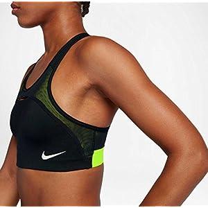 Nike Womens Swoosh Modern Sports Bra (Black/Volt, M)