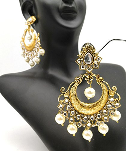 Satyam Kraft Women's Fashion Traditional Gold Chandbali Pearl Kundan Earrings Partywear Wedding Hangings Earrin Standard (Gold Art Deco Necklace)