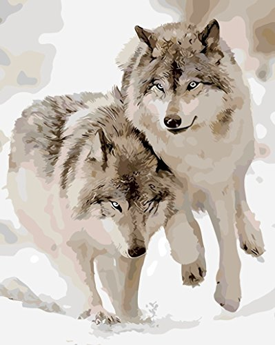 MailingArt Framed Paint By Number Kits Linen Canvas DIY Painting - Snow Wolf