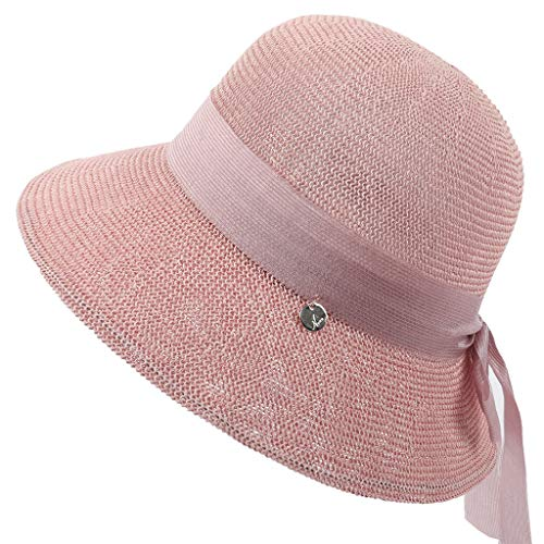 HYIRI Hip-Hopping Women Fashion Floppy Foldable Ladies Women Straw Beach Sun Summer Hat Pink