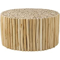 East at Main Organic Wood Branch Teakwood Round Coffee Table, (31x31x16)