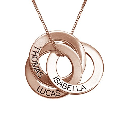 MyNameNecklace Personalized Russian Ring Engraved Name Necklace - Personalized 3 Circles Disc Jewelry