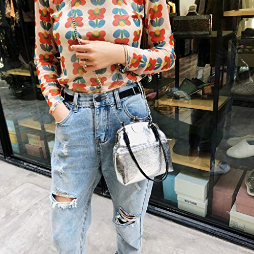 Women Bucket Bag Leather Crossbody Vintage Retro Handbag Metal Lock Small Hand Pouch